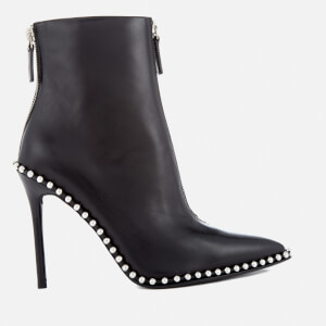Alexander Wang Women's Eri Leather Studded Heeled Ankle Boots - Black
