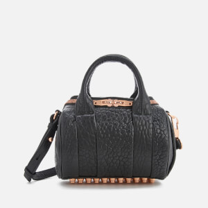 Alexander Wang Women's Mini Rockie Pebbled Leather Bag with Rose Gold Studs - Black