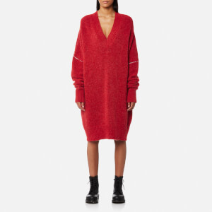 MM6 Maison Margiela Women's 5 White Stitching Jumper Dress - Red