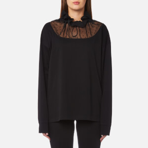 MM6 Maison Margiela Women's Sweatshirt with High Neck Chiffon Detail - Black