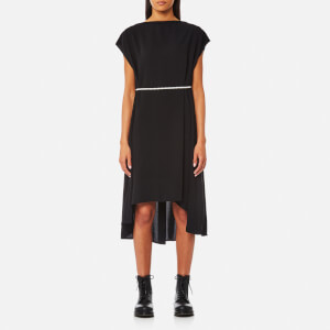 MM6 Maison Margiela Women's Elongated Back Dress with Pearl Tie Belt - Black