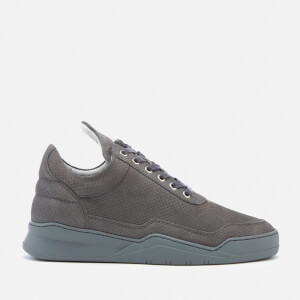 Filling Pieces Ghost Perforated Suede Low Top Trainers - Dark Grey