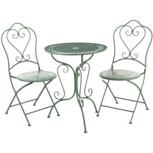 Finchwood Jardin Antique Wrought Iron Table Set - (3 Piece) Green
