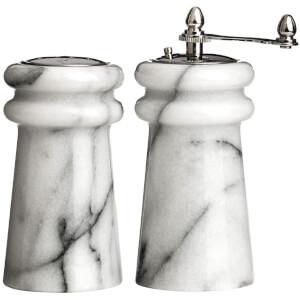 Premier Housewares Salt Shaker and Pepper Mill Set - Marble (10 x 6cm)