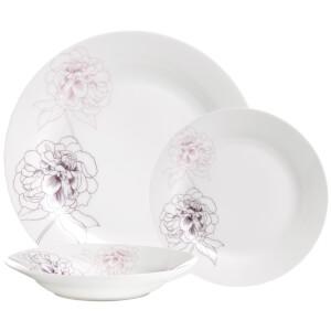 Premier Housewares 12 Piece Avie Flora Dinner Set - Purple Porcelain