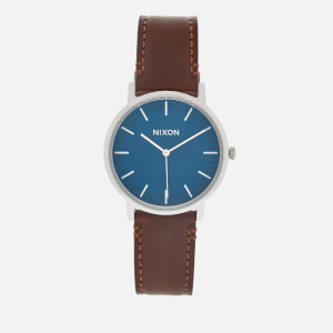 Nixon Men's The Porter Leather Watch - Navy/Brown