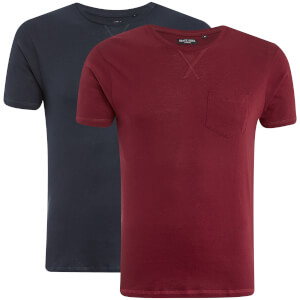 Brave Soul Men's Arkham 2 Pack T-Shirt - Navy/Dark Wine