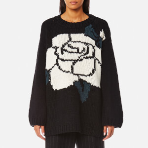 MM6 Maison Margiela Women's Oversized Rose Jacquard Knitted Jumper - Black