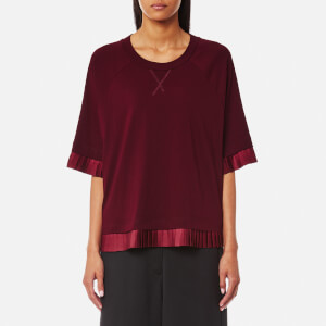 MM6 Maison Margiela Women's Short Sleeve Frill T-Shirt - Bordeaux
