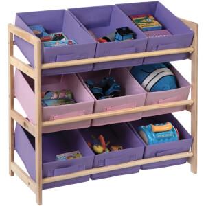 Premier Housewares 3 Tier Storage Unit with 9 Canvas Tubs