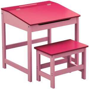 Premier Housewares Children's Desk and Stool - Pink