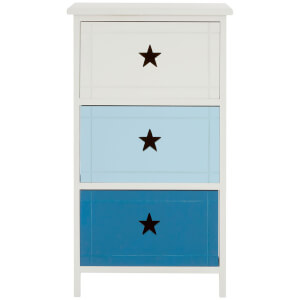 Premier Housewares Josh 3 Drawer Chest - Blue Mix