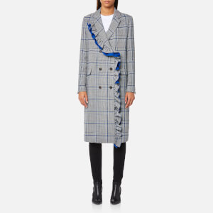 MSGM Women's Checks and Frills Double Breasted Coat - Grey