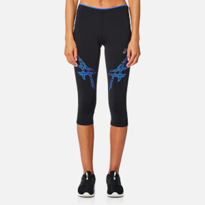 Asics Women's Asics Stripe Knee Tights - Performance Black/Blue Purple
