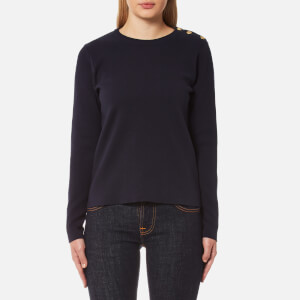 GANT Women's Milano Rib Crew Neck Jumper - Evening Blue