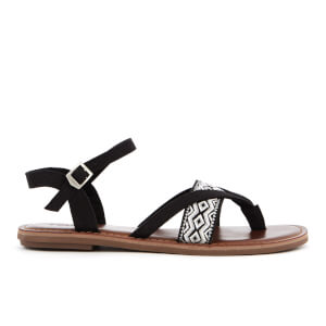 TOMS Women's Lexie Strappy Sandals - Black Canvas/Embroidery