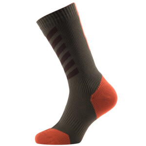 Sealskinz MTB Mid Mid Socks with Hydrostop - Olive/Orange