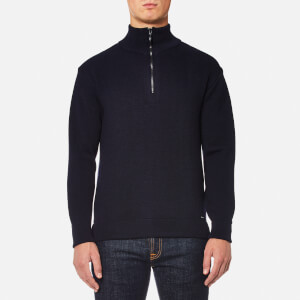Armor Lux Men's Quarter Zip Knitted Jumper - Rich Navy