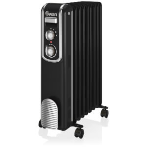 Swan SH60010BN 9 Finned Oil Filled Radiator - Black