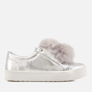 Sam Edelman Women's Leya Pom Pom Leather Flatform Slip On Trainers - Soft Silver