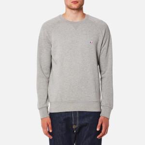 Maison Kitsuné Men's Tricolor Fox Patch Sweatshirt - Grey Melange