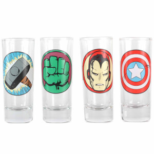 Marvel Characters Set of 4 Mini Glasses