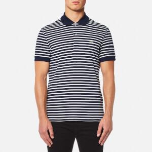 Lacoste Men's Stripe Polo Shirt - Navy Blue/Flour