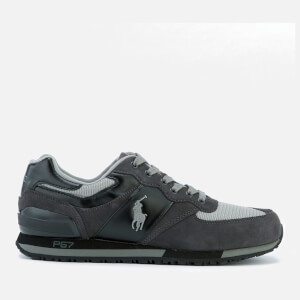 Polo Ralph Lauren Men's Slaton Pony Suede/Mesh Runner Trainers - Black/Charcoal