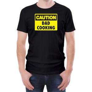 T-Shirt Homme Caution Dad Cooking -Noir