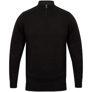 Kensington Men's Zip Down Jumper with Ribbed Detailing - Navy