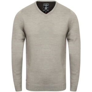 Kensington Men's Basic V Neck Jumper - Light Grey Marl