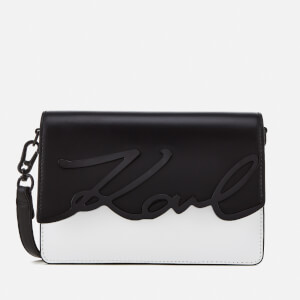 Karl Lagerfeld Women's K/Metal Signature Shoulder Bag - Black/White