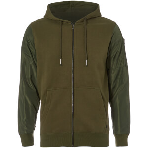 Dissident Men's Devo Contrast Sleeve Zip Through Hoody - Green