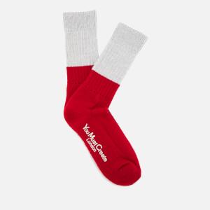YMC Men's Block Colour Rib Socks - Lt Grey/Red