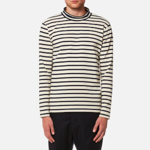 YMC Men's Chino Turtle Neck Top - Ecru/Navy