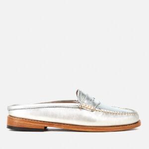 Bass Weejuns Women's Penny Slide Wheel Print Leather Slide Loafers - Silver