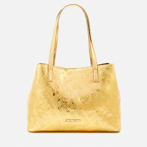 Love Moschino Women's Metallic Embossed Small Logo Tote Bag - Gold