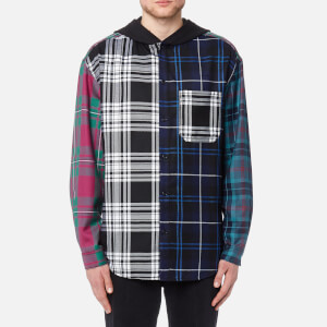 Alexander Wang Men's Wool Tartan Multi Combo Hooded Shirt - Blue/Multi