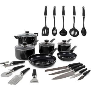 Morphy Richards 970050 Equip 6 Piece Pan Set with 14 Piece Tool Set - Black