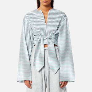 House of Sunny Women's Wrangler Shirt with Tie Front - Stripe