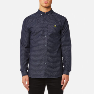 Lyle & Scott Men's Multi-Coloured Running Stitch Shirt - Navy
