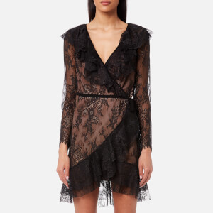 For Love & Lemons Women's Daphne Lace Wrap Dress - Black