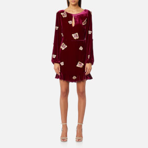 For Love & Lemons Women's Luxe Velvet Mini Dress - Raspberry