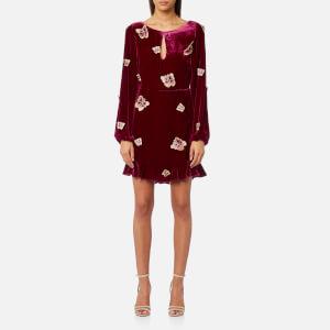 For Love & Lemons Women's Luxe Velvet Mini Dress - Raspberry