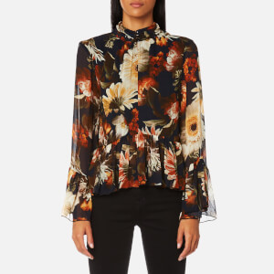 Gestuz Women's Fergie Flower Print High Neck Blouse - Multi