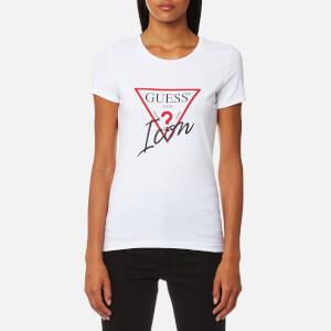 Guess Women's Short Sleeve Icon T-Shirt - True White