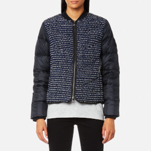 Karl Lagerfeld Women's Boucle Quilted Down Bomber Jacket - Peacoat