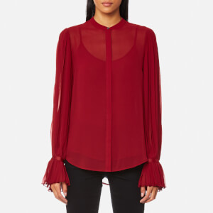 Karl Lagerfeld Women's Pleated Sleeve Blouse - Rhubarb