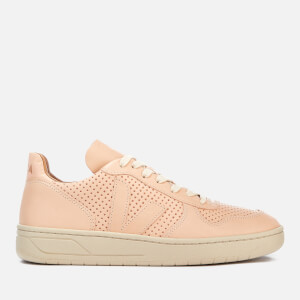 Veja V-10 Bastille Leather Trainers - Nude