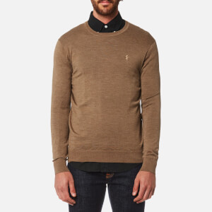 Polo Ralph Lauren Men's Merino Wool Crew Neck Jumper - Honey Brown Heather